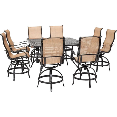 hanover-manor-9-piece-8-counter-height-swivel-sling-chairs-and-60-inch-square-cast-table-mandn9pcsq-br