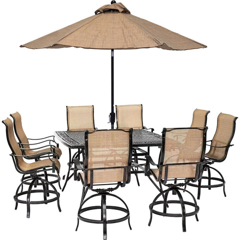 hanover-manor-9-piece-8-counter-height-swivel-sling-chairs-60-inch-square-cast-table-umbrella-and-base-mandn9pcsq-br-su