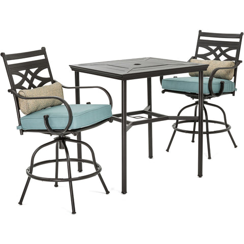 hanover-montclair-3-piece-high-dining-2-swivel-chairs-33-inch-square-high-dining-table-mclrdn3pcbrsw2-blu
