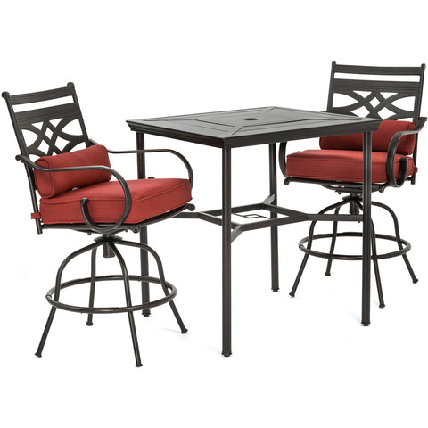 hanover-montclair-3-piece-high-dining-2-swivel-chairs-33-inch-square-high-dining-table-mclrdn3pcbrsw2-chl