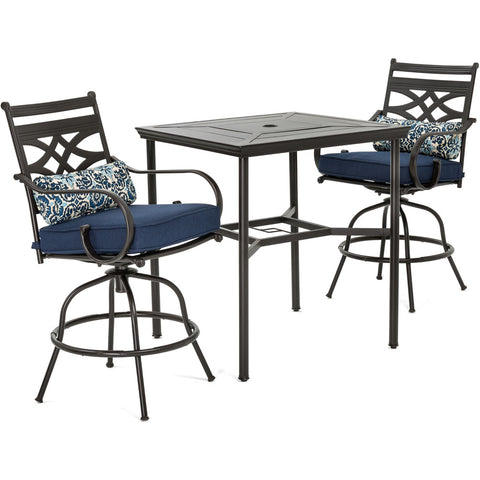 hanover-montclair-3-piece-high-dining-2-swivel-chairs-33-inch-square-high-dining-table-mclrdn3pcbrsw2-nvy