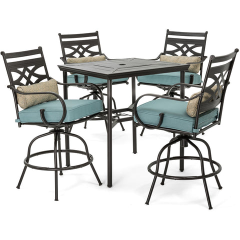 hanover-montclair-5-piece-high-dining-4-swivel-chairs-33-inch-square-high-dining-table-mclrdn5pcbr-blu