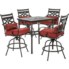 hanover-montclair-5-piece-high-dining-4-swivel-chairs-33-inch-square-high-dining-table-mclrdn5pcbr-chl