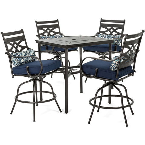 hanover-montclair-5-piece-high-dining-4-swivel-chairs-33-inch-square-high-dining-table-mclrdn5pcbr-nvy