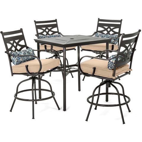 hanover-montclair-5-piece-high-dining-4-swivel-chairs-33-inch-square-high-dining-table-mclrdn5pcbr-tan