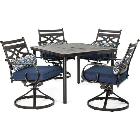hanover-montclair-5-piece-4-swivel-rockers-40-inch-square-dining-table-mclrdn5pcsqsw4-nvy