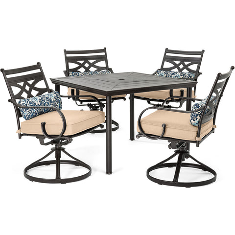 hanover-montclair-5-piece-4-swivel-rockers-40-inch-square-dining-table-mclrdn5pcsqsw4-tan