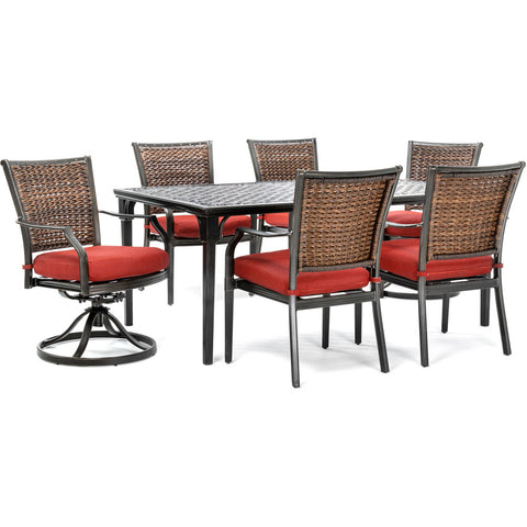 hanover-mercer-7-piece-dining-set-2-woven-swivel-rockers-4-woven-chairs-40x70-inch-cast-table-mercdn7pcswc2-red