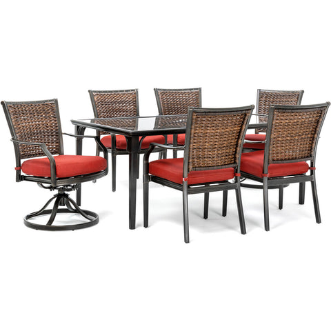 hanover-mercer-7-piece-dining-set-2-woven-swivel-rockers-4-woven-chairs-40x70-inch-glass-table-mercdn7pcswg2-red