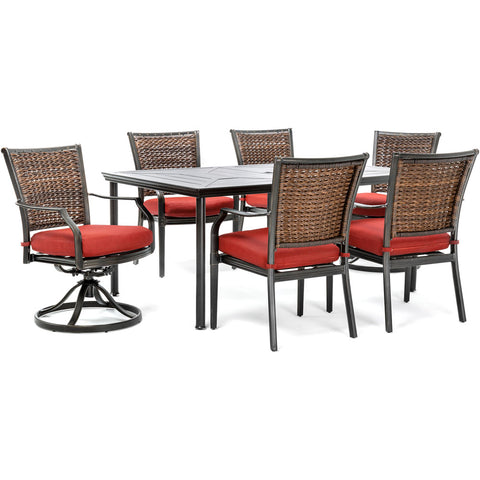 hanover-mercer-7-piece-dining-set-2-woven-swivel-chairs-4-woven-chairs-1-rectangular-table-mercdn7pcsws2-red