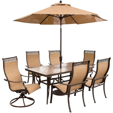 hanover-monaco-7-piece-4-sling-dining-chairs-2-sling-swivel-rockers-40x68-inch-tile-table-umbrella-base-monaco7pcsw-su