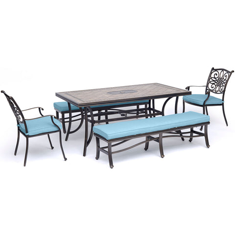 hanover-monaco-5-piece-2-cushion-dining-chairs-2-backless-cushion-bench-chairs-40x68-inch-tile-table-mondn5pcbn-blu