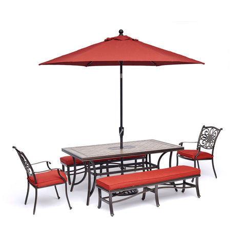 hanover-monaco-5-piece-2-cushion-dining-chairs-2-cushion-bench-chairs-40x68-inch-tile-table-umbrella-and-base-mondn5pcbn-red-su
