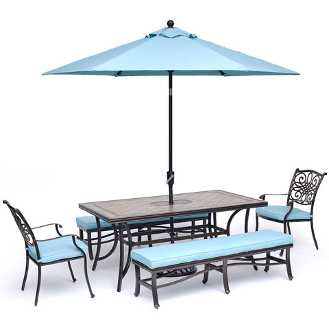 hanover-monaco-5-piece-2-cushion-dining-chairs-2-backless-bench-chairs-40x68-inch-tile-table-umbrella-base-mondn5pcbn-su-b