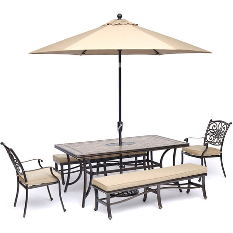 hanover-monaco-5-piece-2-cushion-dining-chairs-2-backless-bench-chairs-40x68-inch-tile-table-umbrella-base-mondn5pcbn-su-t