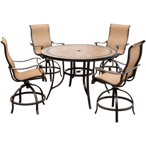 hanover-monaco-5-piece-4-sling-swivel-counter-height-chairs-56-inch-round-tile-table-36-inch-height-mondn5pcbr