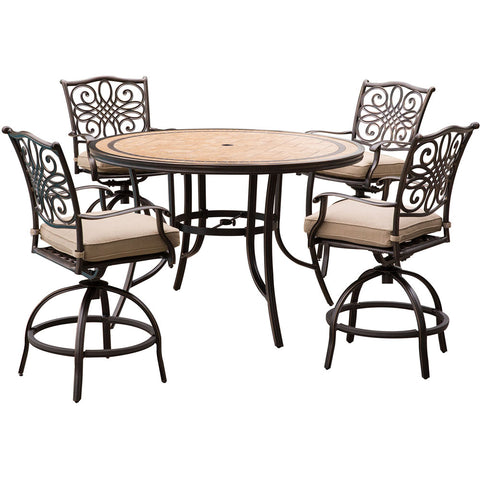 hanover-monaco-5-piece-4-cushion-sling-swivel-counter-height-chairs-56-inch-round-tile-table-36-inch-height-mondn5pcbr-c