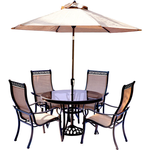 hanover-monaco-5-piece-4-sling-dining-chairs-48-inch-round-glass-top-table-umbrella-base-mondn5pcg-su