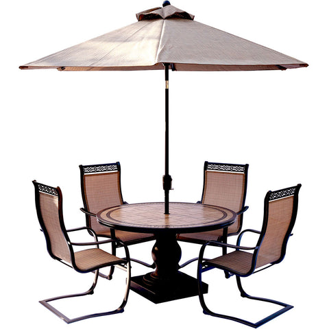 hanover-monaco-5-piece-4-c-spring-chairs-51-inch-round-tile-top-table-umbrella-mondn5pcsp-su