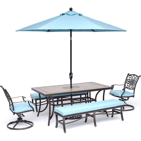 hanover-monaco-5-piece-2-cushion-swivel-rockers-2-cushion-bench-chairs-40x68-inch-tile-top-table-umbrella-base-mondn5pcsw2bn-su-b