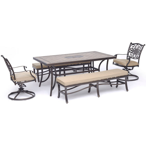 hanover-monaco-5-piece-2-cushion-swivel-rockers-2-cushion-backless-bench-chairs-40x68-inch-tile-top-table-mondn5pcsw2bn-tan