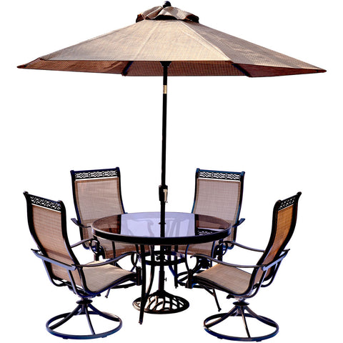 hanover-monaco-5-piece-4-sling-swivel-rockers-48-inch-round-glass-top-table-umbrella-base-mondn5pcswg-su