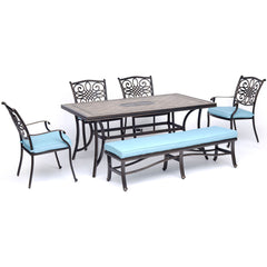hanover-monaco-6-piece-4-cushion-dining-chairs-backless-cushion-bench-chairs-40x68-inch-tile-table-mondn6pcbn-blu