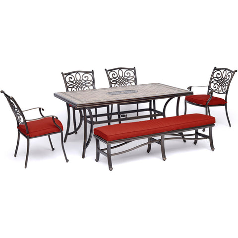 hanover-monaco-6-piece-4-cushion-dining-chairs-1-backless-cushion-bench-chairs-40x68-inch-tile-table-mondn6pcbn-red