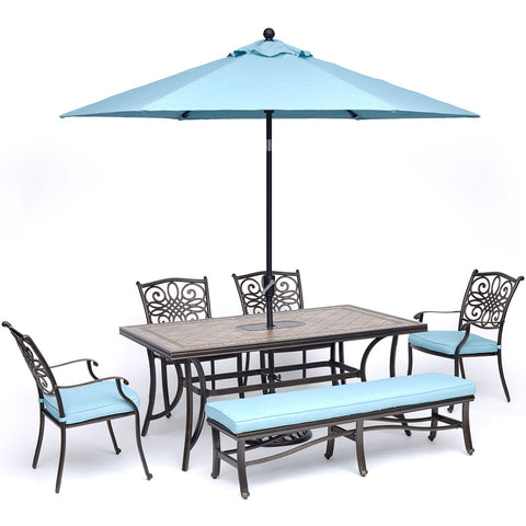 hanover-monaco-6-piece-4-cushion-dining-chairs-backless-cushion-bench-chairs-40x68-inch-tile-table-umbrella-base-mondn6pcbn-su-b