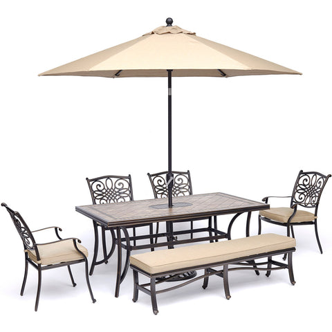 hanover-monaco-6-piece-4-cushion-dining-chairs-backless-cushion-bench-chairs-40x68-inch-tile-table-umbrella-base-mondn6pcbn-su-t