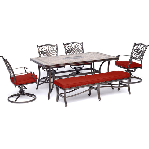 hanover-monaco-6-piece-4-cushion-swivel-dining-chairs-1-backless-cushion-bench-chairs-40x68-inch-tile-table-mondn6pcsw4bn-red