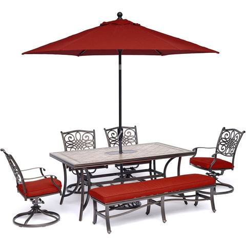 hanover-monaco-6-piece-4-cushion-swivel-chairs-1-cushion-bench-chairs-40x68-inch-tile-table-umbrella-and-base-mondn6pcsw4bn-r-su