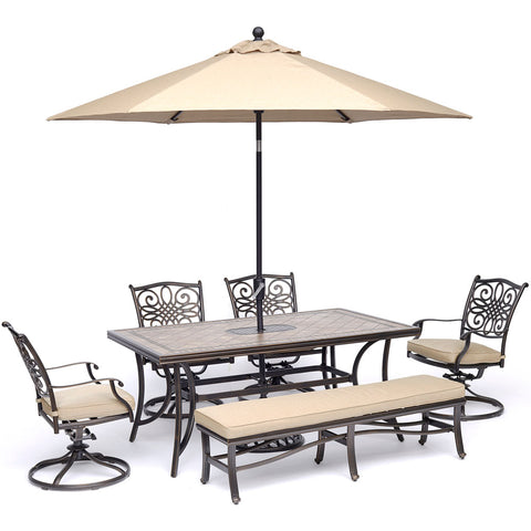 hanover-monaco-6-piece-4-cushion-swivel-rockers-backless-cushion-bench-chairs-40x68-inch-tile-table-umbrella-base-mondn6pcsw4bn-su-t