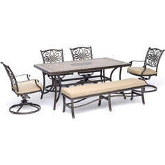 hanover-monaco-6-piece-4-cushion-swivel-rockers-backless-cushion-bench-chairs-40x68-inch-tile-top-table-mondn6pcsw4bn-tan
