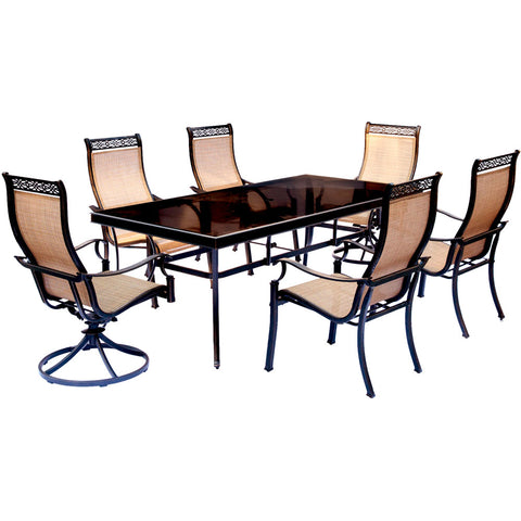 hanover-monaco-7-piece-4-sling-dining-chairs-2-sling-swivel-rockers-42x84-inch-glass-table-mondn7pcsw2g