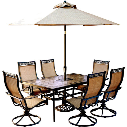 hanover-monaco-7-piece-6-sling-swivel-rockers-40x68-inch-tile-top-table-umbrella-base-mondn7pcsw6-su