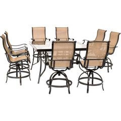 hanover-monaco-9-piece-8-counter-height-swivel-sling-chairs-and-60-inch-square-glass-table-mondn9pcbrsqg