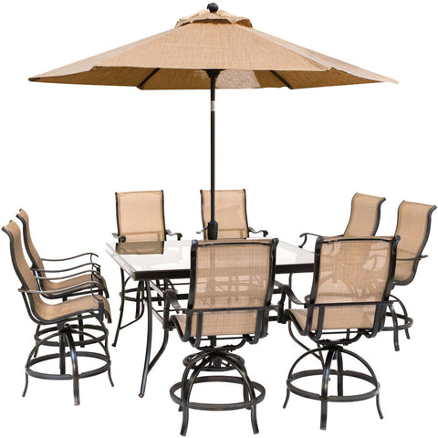 hanover-monaco-9-piece-8-counter-height-swivel-sling-chairs-60-inch-square-glass-table-umbrella-and-base-mondn9pcbrsqg-su