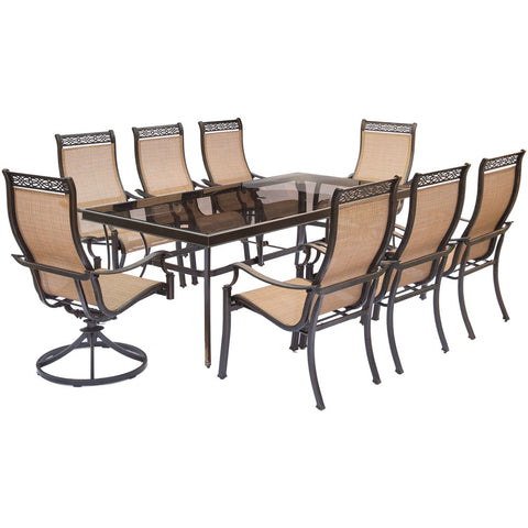 hanover-monaco-9-piece-6-sling-dining-chairs-2-sling-swivel-rockers-42x84-inch-glass-table-mondn9pcsw2g