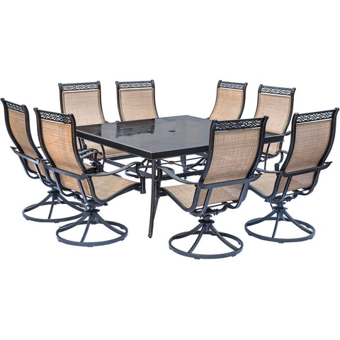 hanover-monaco-9-piece-8-sling-swivel-rockers-60-inch-square-glass-top-table-mondn9pcswsqg