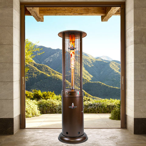 Lava Heat Opus Round Flame Tower Heater, 80.5″, 56,000 BTU, Remote Control, Push Button Ignition, Heritage Bronze, Natural Gas - ASSEMBLED