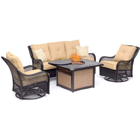 hanover-orleans-4-piece-fire-pit-sofa-2-cushioned-swivel-rockers-cast-top-fire-pit-orl4pccfpsw2-tan