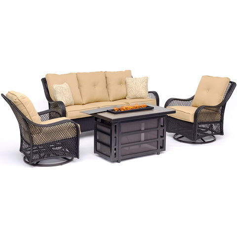 hanover-orleans-4-piece-fire-pit-2-swivel-gliders-sofa-rectangle-kd-fire-pit-with-tile-orl4pcrecfp-tan
