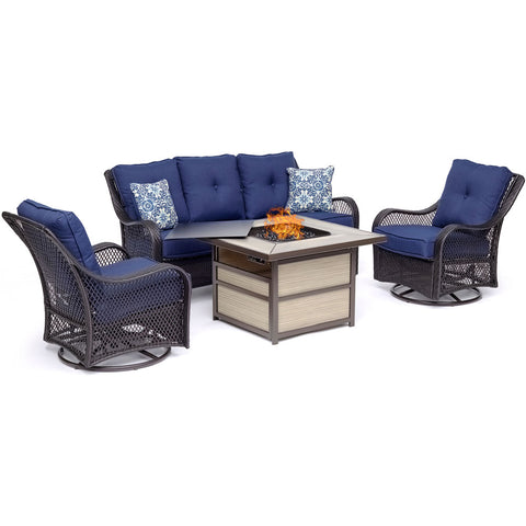 hanover-orleans-4-piece-fire-pit-2-swivel-gliders-sofa-square-kd-fire-pit-with-tile-orl4pcsqfp-nvy