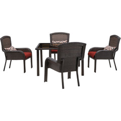 hanover-strathmere-5-piece-dining-set-4-dining-chairs-sq.-woven-table-with-glass-top-stradn5pcsq-red