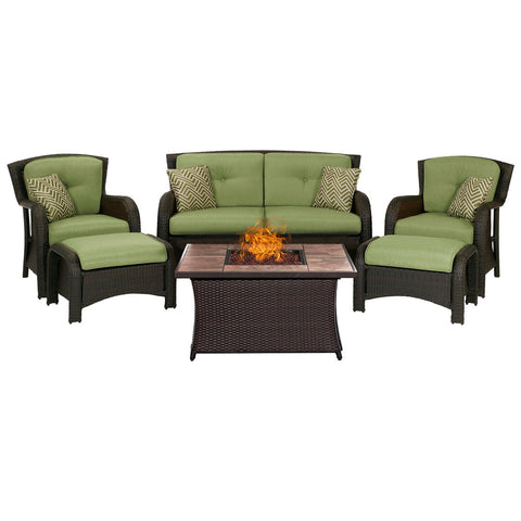 hanover-strathmere-6-piece-fire-pit-set-with-tan-tile-top-strath6pcfp-grn-tn