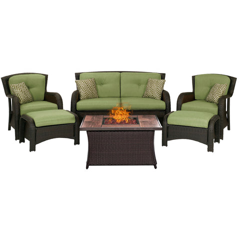 hanover-strathmere-6-piece-fire-pit-set-with-wood-grain-tile-top-strath6pcfp-grn-wg