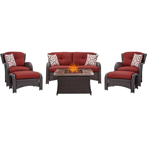 hanover-strathmere-6-piece-fire-pit-set-with-wood-grain-tile-top-strath6pcfp-red-wg