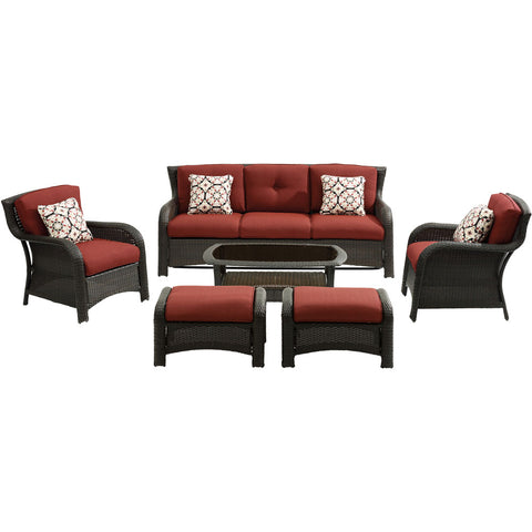 hanover-strathmere-6-piece-sofa-2-side-chairs-2-ottomans-woven-coffee-table-strath6pc-s-red