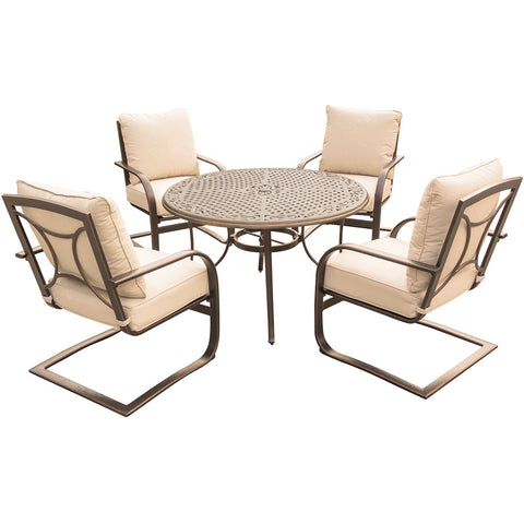 hanover-summer-nights-5-piece-dining-set-4-aluminum-spring-chairs-with-48-inch-cast-table-sumngt5pccstsp-tan